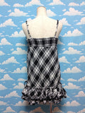 Halter Frill Tartan JSK (dress) in Black x White from TRALALA