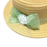 Shell Embroidery Boater Hat in Mint from SWIMMER