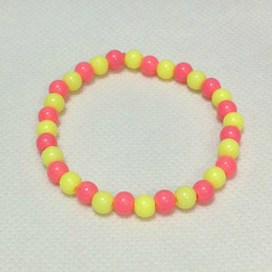 Mini Bubblegum Pearl Bracelet in Neon Pink x Neon Yellow from Pastel Skies
