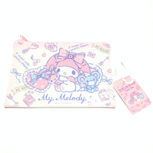 My Melody Vinyl Flat Pouch (Zipper Bag) in White x Pink from Sanrio