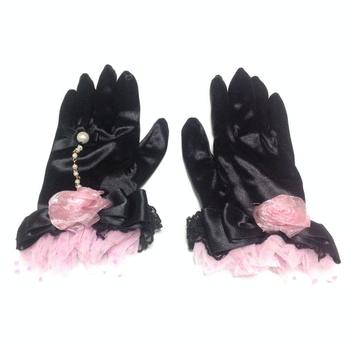 Day Dream Satin Gloves in Black from Angelic Pretty