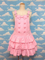 Stripe Logo Jacquard Salopette in Pink from Angelic Pretty