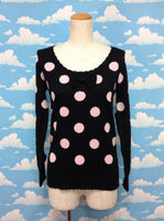 POP Dot Sweater in Black x Pink from Angelic Pretty (C)