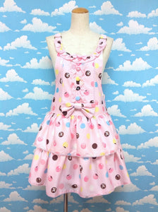 Polka Dot Chocolate Salopette Set in Pink from Angelic Pretty