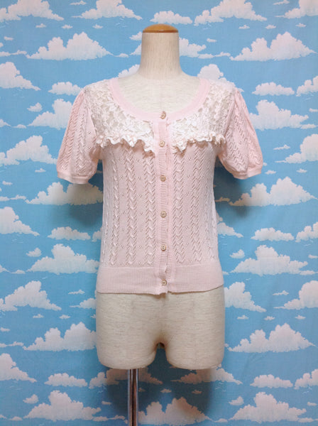 Ribbon Button Lace Decoration Cardigan in Pink from Lizmelo (Liz Lisa x My Melody)