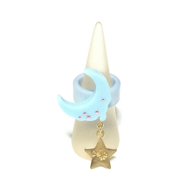 Milky Melty Moon Ring in Sax from Angelic Pretty