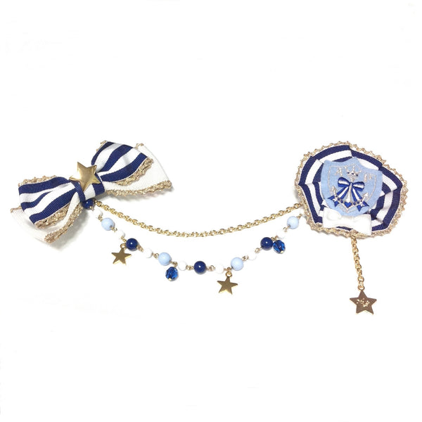 Cutie Marine Rosette Brooch in Sax from Angelic Pretty