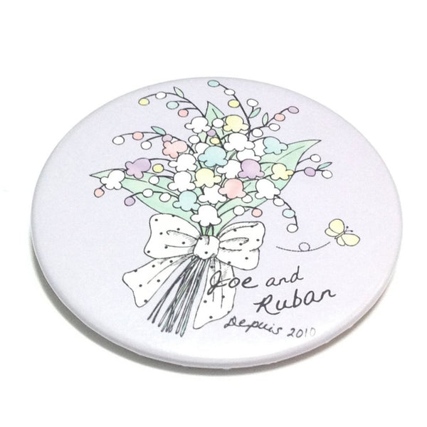 "Flower Bouquet ""Joe and Ruban"" Badge in Lavender"