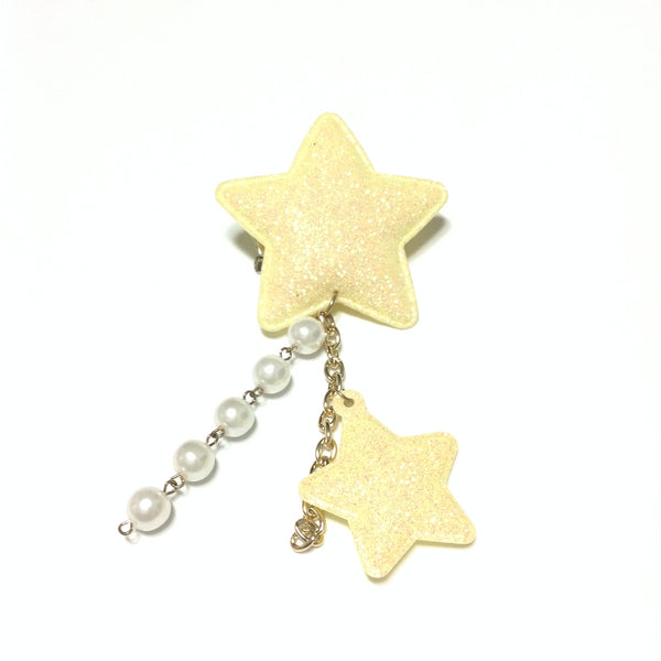 Glitter Milky 2-Way Clip/brooch in Yellow from Chocomint