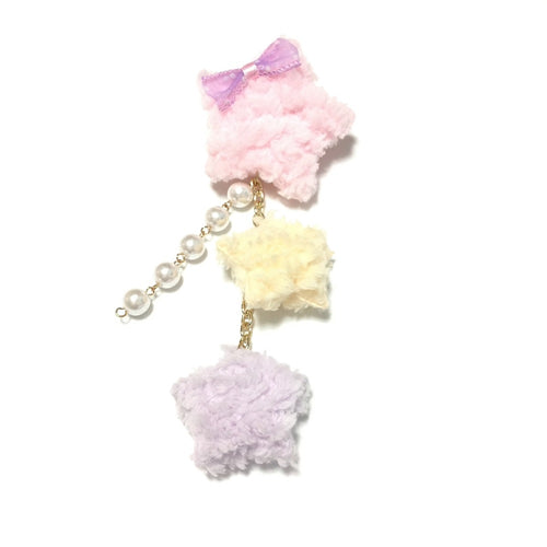 2-Way Fluffy Star Clip/brooch in Pink from Chocomint