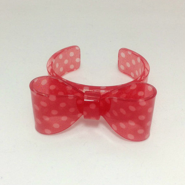 Polka Dot Plastic Ribbon Bangle in Red from Chocomint