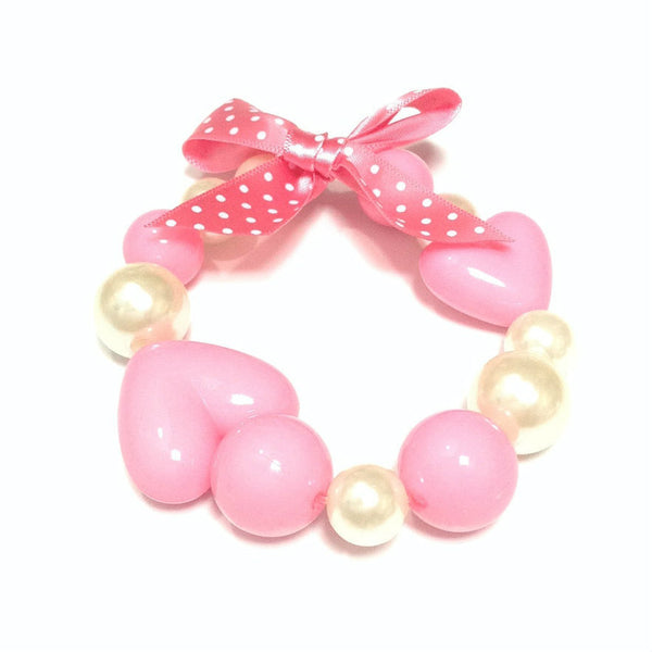 Heart Pearl Bracelet in Pink from Chocomint
