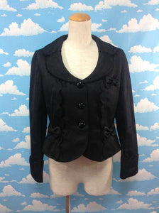 Maiden Ribbon Jacquard Jacket in Black from Angelic Pretty