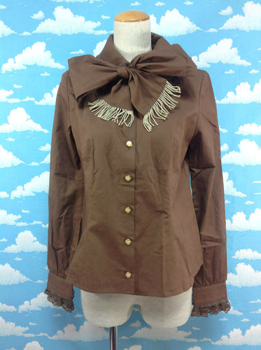 Royal Fringe Tie Blouse in Brown from Angelic Pretty