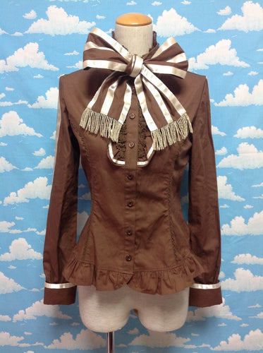 Fringe Bow Tie Jabot Blouse in Brown from Angelic Pretty