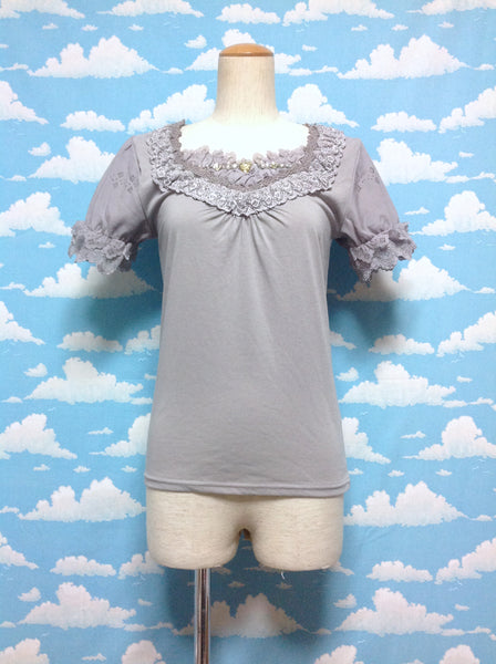 Jewel Lace Collar Cutsew in Light Grey from Axes Femme