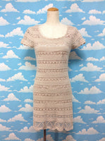 Knit Pattern Mini Sleeve Dress in Beige