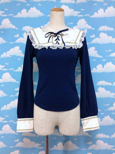 Lace-up Little Princess Cutsew in Navy from Angelic Pretty