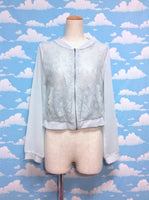 Lace Body Chiffon Sleeve Cardigan in Mint from Axes Femme
