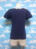 Lace Collar Dot Short Sleeve Cutsew in Navy from Earth Music & Ecology