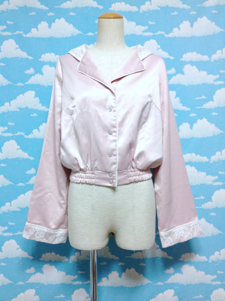 Lace Detail Sailor Collar Blouson (Jacket) in Pink x White from Honey Cinnamon