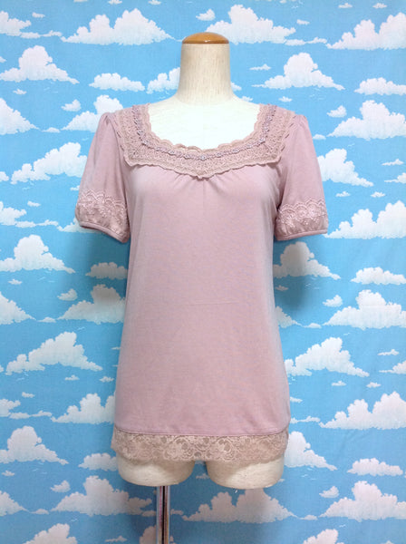 Lace Rhinestone Short Sleeve Cutsew in Pink from Axes Femme