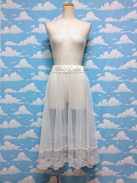 Lace Tulle Skirt in Ivory from Emsexcite