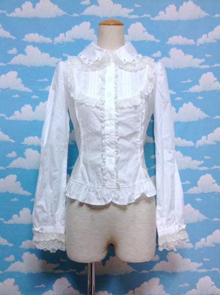 Lace and Bow Collar Blouse in White from Angelic Pretty