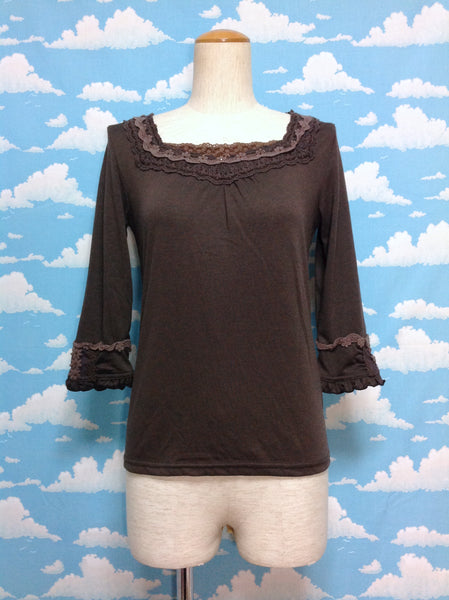 Lace, tulle and Rhinestone ¾ Sleeve Cutsew in Brown from Axes Femme