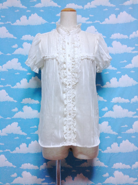 Light Short Sleeve Lace Blouse in Ivory from Axes Femme