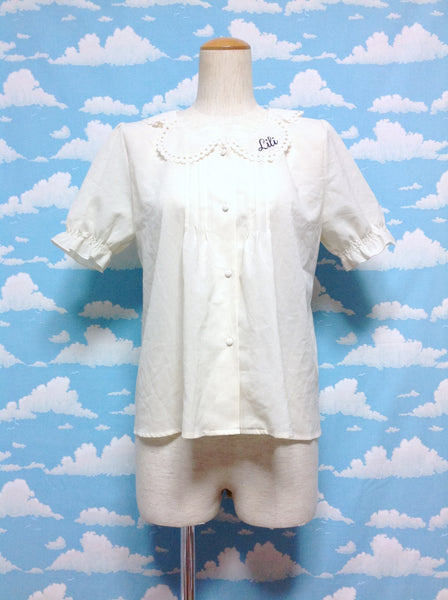 Lili Scallop Collar Blouse in Ivory from F.I.N.T
