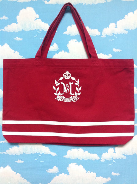 Logo with Stripes Tote Bag in Red x White from Metamorphose temps de fille