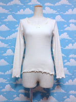 Long Sleeved Tulle Neckline Cutsew in Ivory from F.i.n.t
