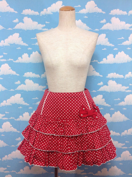 Maiden Polka Dot Frill Skirt in Red from Angelic Pretty