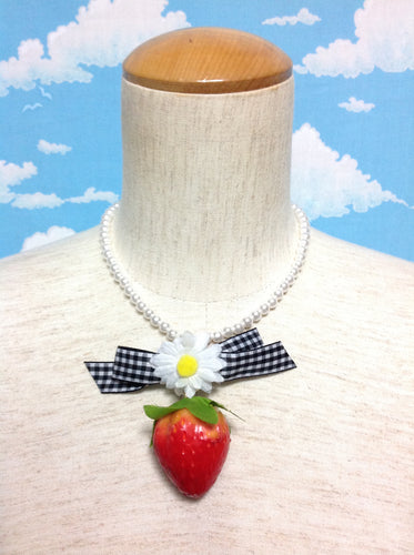 Margerit Gingham Bow Strawberry Necklace from SWIMMER
