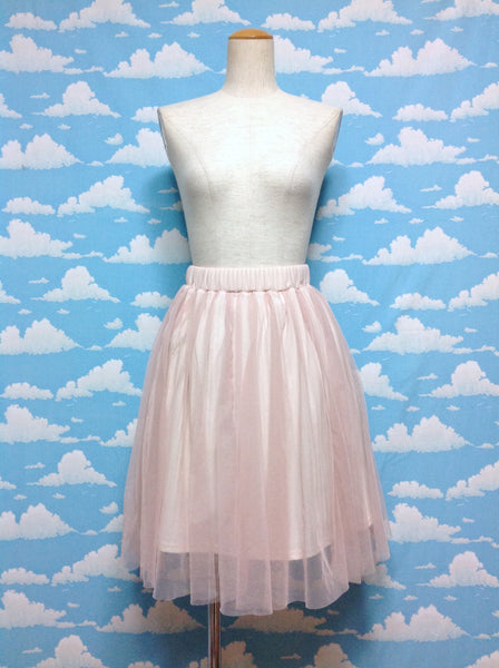 Medium Length Tulle Skirt in Pinkish Beige