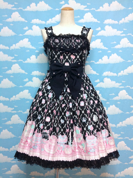 Memorial Cake Chest Ruffle JSK in Black from Angelic Pretty