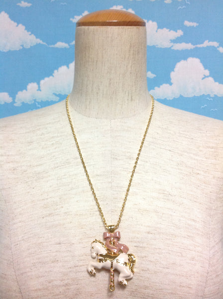 Merry-Go-Round Ribbon Horse Necklace in Gold from F.i.n.t