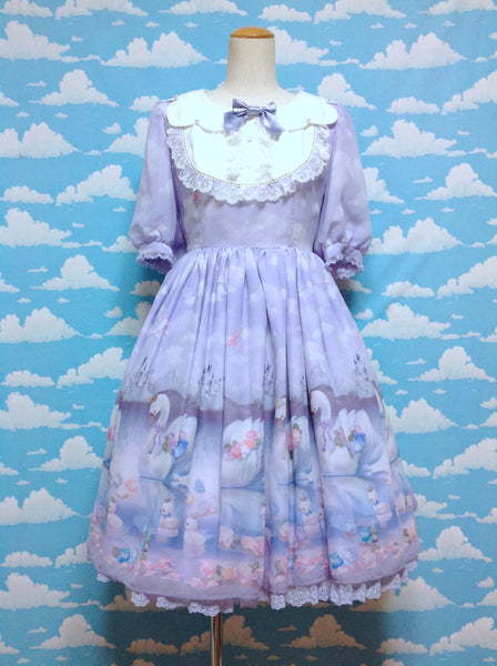 Milky Swan Collared OP (One Piece) in Lavender from Angelic Pretty