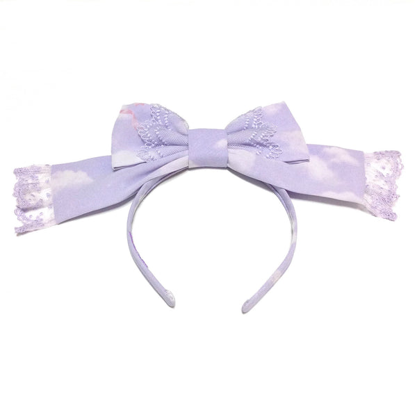 Milky Swan Head Bow in Lavender from Angelic Pretty