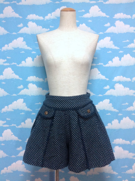 Mini Dot Lace Emblem Pocket Skirt in Dark Turquoise from Axes Femme