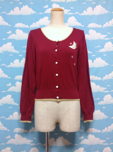 Moon & Stars Embroidered Cardigan in Wine from F.I.N.T