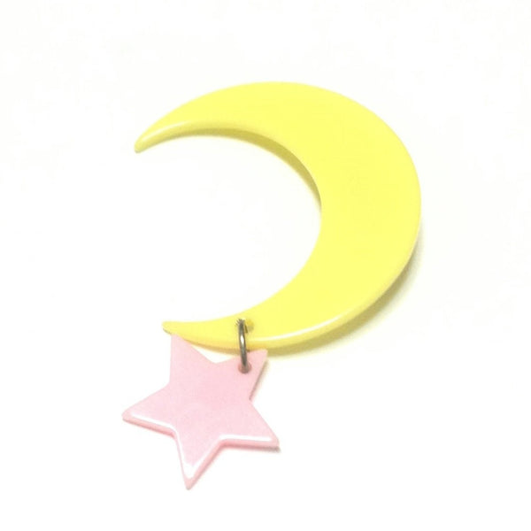 Moon and Stars Pin/Brooch in Yellow x Pink