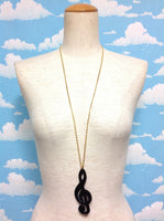 Music Note Necklace in Black