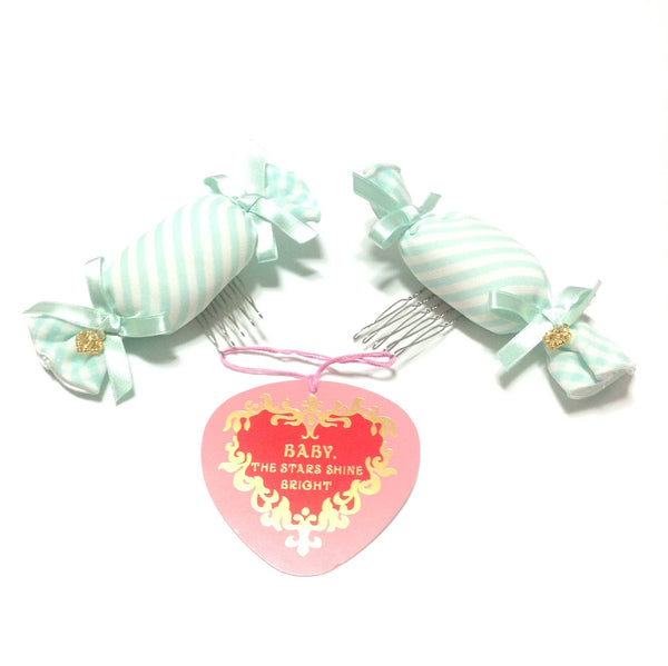 My Anniversary Stripe Candy Ribbon Comb in Mint x White from Baby, the Stars Shine Bright