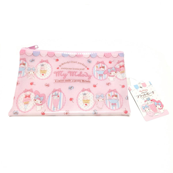 My Melody Flat Pouch Zipper Bag (Ice) in Pink from Sanrio