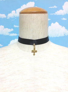Original Cross Choker and Pouch Set in Black from Angelic Pretty