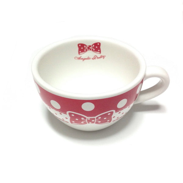Original Dot Ribbon Soup Mug in Red x White from Angelic Pretty