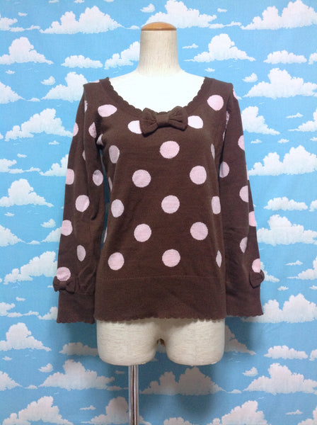 POP Dot Sweater in Brown from Angelic Pretty