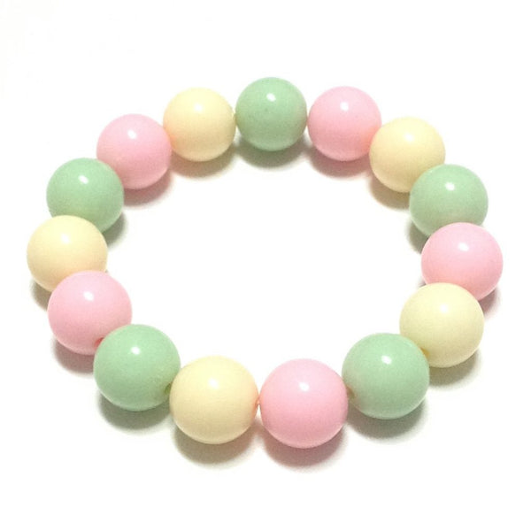 Pale Pastel Bubblegum Bracelet in Light Pink, Light Mint and Ivory from Pastel Skies